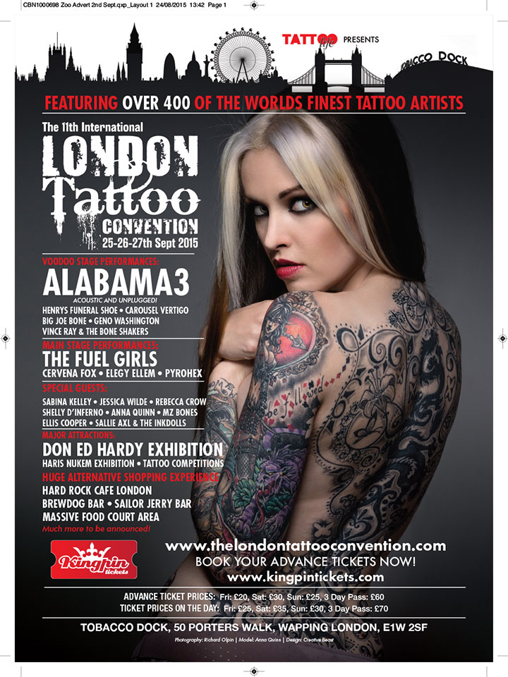Anna Quinn by Richard Olpin - Zoo Magazine Advert - London International Tattoo Convention 2015